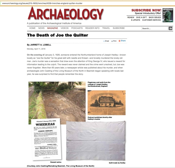 Archaeology magazine, The Death of Joe the Quilter