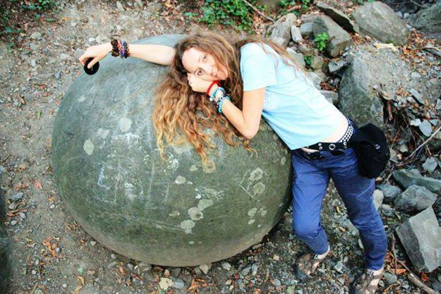 vesna-on-stone-sphere-in-bosnia