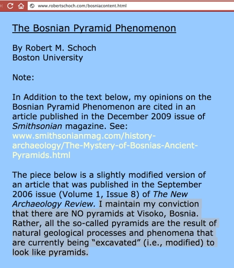 July 6, 2017 - Robert Schoch says No pyramids in Bosnia