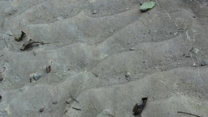 Textured, inclined, rightward-learning super-megalithic concrete blocks