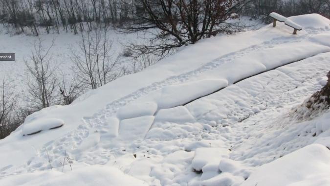 Vratnica Tumulus in snow, January 2, 2015.