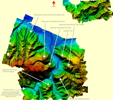 "March 2015 LIDAR (""light-radar"") satellite scan of the Bosnian Valley of the Pyramids in the Visoko, Bosnia area."