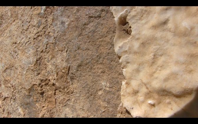 textured mineralized construction stone on the Bosnian Pyramid of the Sun screen-grab from Anela video copy