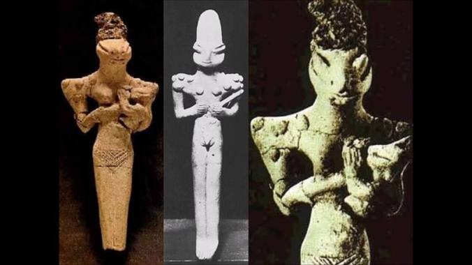 Above: Reptilian figurines excavated in modern times at Al Ubaid archeological site in Iraq.