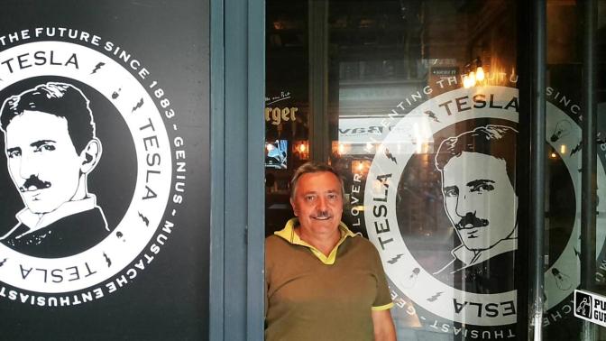 Goran Marjanovich at the Tesla Heritage Research Center Tesla Heritage Club in Belgrade, Serbia