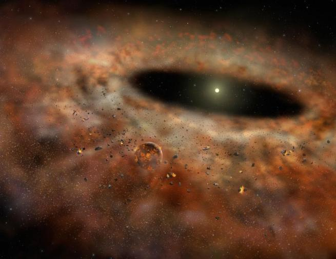 planetary accretion disk of dust and gas