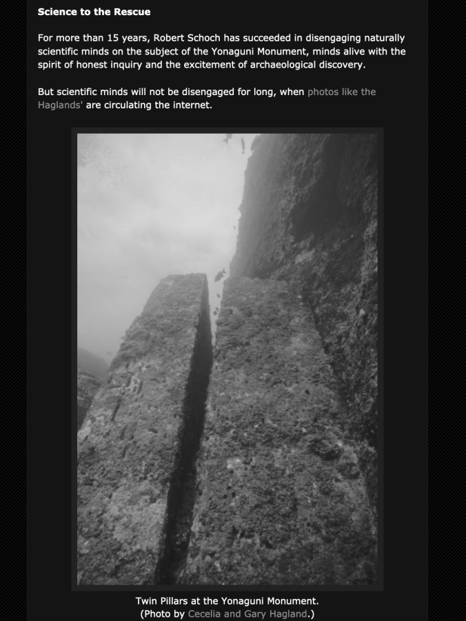 Twin Pillars duolith at the Yonaguni Monument Screen Shot 2019-08-08 at 3.14.48 PM