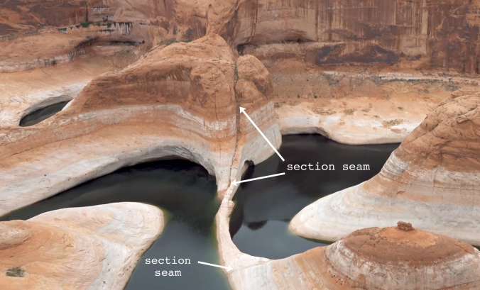 4 The Terraforming of Terra, Reflection Canyon, Utah, U.S. Section Seam 6 CLOSE-UP text arrow GOOD
