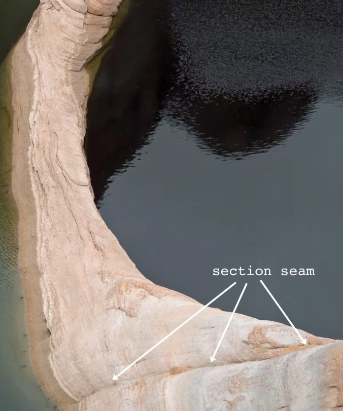5 The Terraforming of Terra, Reflection Canyon, Utah, U.S. Section Seam 7 CLOSE-UP text arrow GOOD