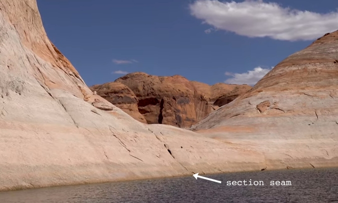 7 The Terraforming of Terra, Reflection Canyon, Utah, U.S. Section Seam 9 CLOSE-UP text arrow GOOD