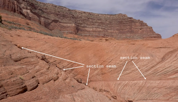 8 The Terraforming of Terra, Reflection Canyon, Utah, U.S. Section Seam 9a CLOSE-UP text arrow GOOD